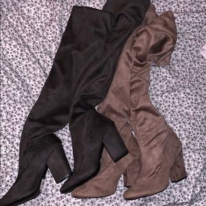 Shoes - Gray and brown thigh high boots